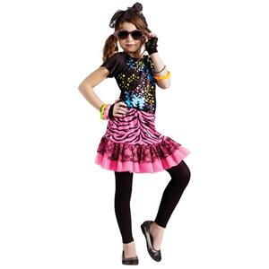 Girls 80's Pop Party Child Costume Large 12-14