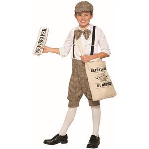 1920s Newsboy Newsie Boys Child Costume Newspaper Mail Man Carrier Size 2-6