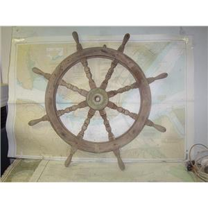 "Boaters' Resale Shop of TX 1905 0142.01 TEAK 36"" WOODEN SHIPS WHEEL FOR 1"" SHAFT"