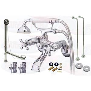 Chrome Tub Mount Clawfoot Bathtub Filler Faucet Kit W Hand