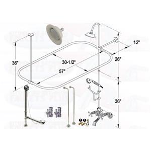 Chrome Clawfoot Tub Faucet With Hand Shower Standing Shower Head Kit