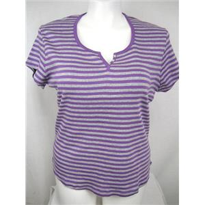 Ladies Plus Size 26/28W Rib Knit Cotton Top with Rounded Hem in Purple Stripe