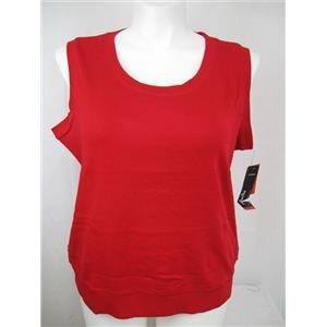 Rafaella Woman Size 1X Ruby Red Cotton Sleeveless Round Neck Ribbed Top