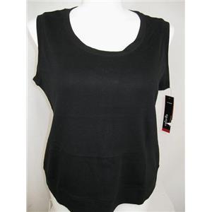 Rafaella Woman Size 3X Black Cotton Sleeveless Round Neck Ribbed Top