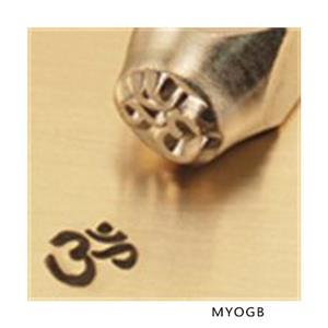 """Om Sign Symbol""1/4""6mm-Large Stamp-Punch-Metal-Steel-Gold & Silver Bars Leather"