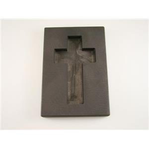 7.5 oz Custom Cross Gold High Density Graphite Mold 4 oz Silver Necklace 3-1/4""