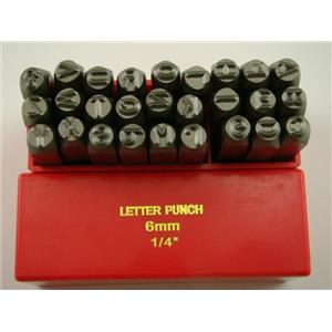 "1/4"" 27 A-Z Letter Punch Stamp Set Hardned 40 CRV Steel 64 HRC Heavy Duty"