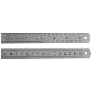 """Set of 2 Stainless Steel 6"""" Rulers Measures S.A.E/MM 150mm Lab Work-School (G33)"""