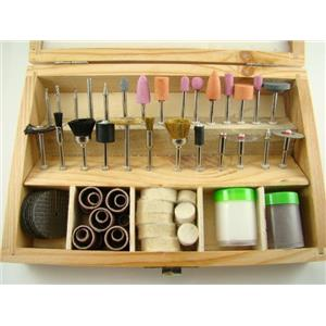 100 Rotary Tool Accessories Wooden Box Drill Dremel Kit - Hobby-Models-Crafts
