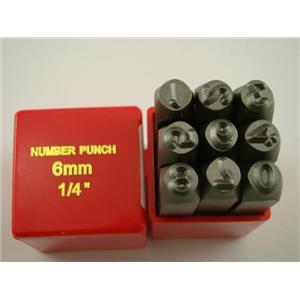 "1/4"" 9 Number Punch Stamp Set Hardned 40 CRV Steel Metal 64 HRC Heavy Duty"