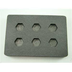 High Density Graphite Mold 1/4 oz Hexagon Gold Bar  Silver 6-Cavities Scrap