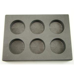 5 oz x 6 Round Gold Bar High Density Graphite Mold 6-Cavities - 3oz Silver Bars