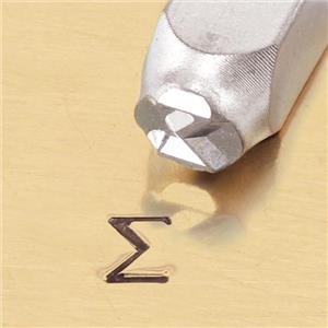 """Greek-Sigma-Sign"" 1/4""-6mm-Large Stamp-Punch-Metal-Steel-Gold & Silver Bars"