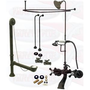 Oil Rubbed Bronze Clawfoot Tub Faucet Package Faucet Shower Enclosure W He