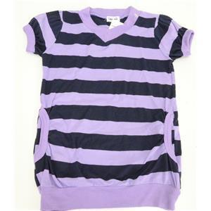 Sz 4T NWT Splendid Littles Girls Orchid Purple/Navy Stripe Pocket Tee Jersey Top