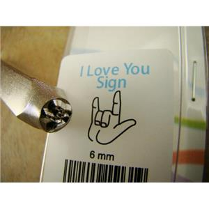 """""""I Love You"""" Sign 1/4""""-6mm-Large Stamp-Metal-Leather-Wood-Gold & Silver Bars"""