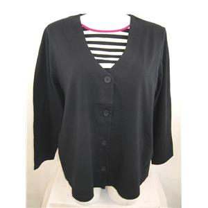 Kim Rogers Size 1X Two-Fer Top Long Sleeves with Full Striped Panel Sewn-In