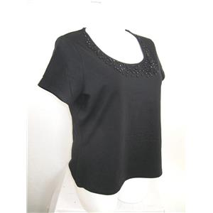 Apostrophe Woman Size 16/18 Black Short Sle Cotton Top w/ Jeweled Scoop Neckline
