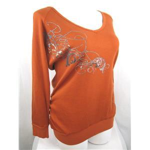 NWT Baby Phat Jean Co Size 2X Cinnamon Spice LS Waffle Weave Tunic w/Rhinestones