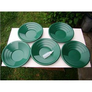 "Lot of 5-12"" Green Gold Pans w/ Bottle Snuffer-Panning Kit-Prospecting-Mining"