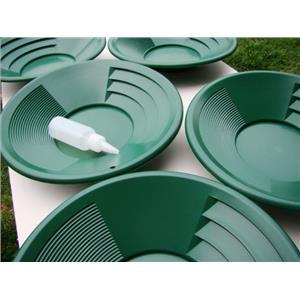 "Lot of 10-12"" Green Gold Pans w/ Bottle Snuffer-Panning Kit-Prospecting-Mining"