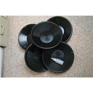 "Lot of 5-12"" Black Gold Pans w/ Bottle Snuffer-Panning Kit-Prospecting-Mining"