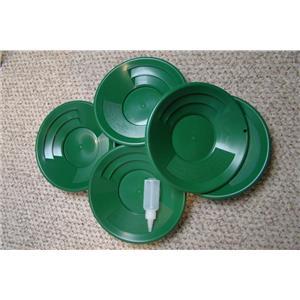 "Lot of 25 - 10"" Green Gold Pans w/ Bottle Snuffer-Panning Kit-Mining"