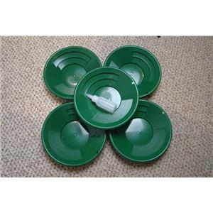 """Lot of 5- 10"""" Green Gold Pans w/ Bottle Snuffer-Panning Kit-Mining BackPack"""