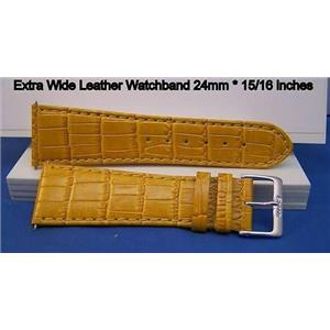 Extra Wide Leather Watchband. 24mm With Pins. Gold