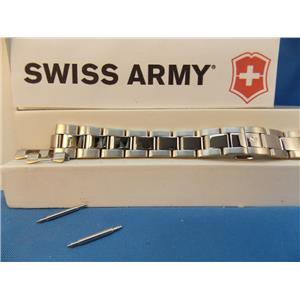 Swiss Army Watch Band Officer Lds 15mm Push But Bracelet Polishd Steel Silver Tn
