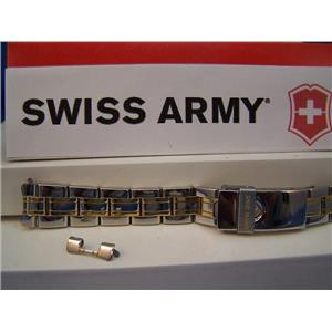 Swiss Army Watch Band Officer Ladies 2 Tone Gold/Silver Polished 15mm Bracelet