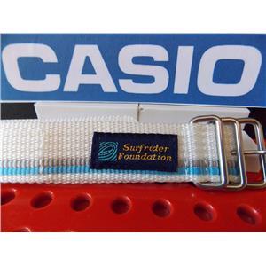 Casio Watch Band DW-9500 SR-2 Surfrider Foundation Wht/Blue/Gray One Piece Nylon