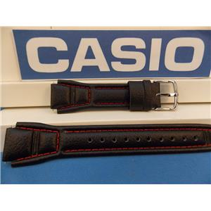 Casio Watch Band AQF-102 WL-4 Leather Strap With Red Stitching. Watchband