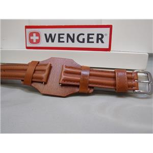 Wenger Watch Band 72111 Brown 20mm Double Padded w/ Throne. Steel Logo buckle