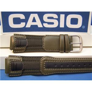 Casio Watch Band AQF-100 WB-3 Green/Black Cloth/Leather. Military Style 17mm.