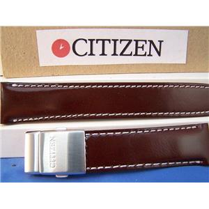 Citizen Watch Band BJ7010  Brown Leather 22mm Strap With Deployment buckle