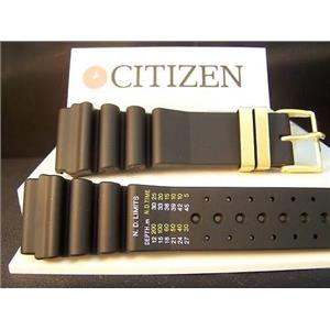 Citizen Watch Band Original Aqualand 24mm. Graphic/Meters gold tone buckle