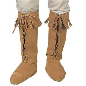 Suede Look Adult Hippie Fringed Boot Covers Accessory