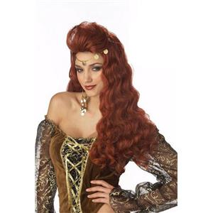 Madame Destiny Wavy Curly Auburn Wig with Coin Trim
