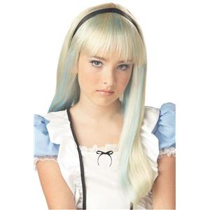 Alice Wig Blonde with Blue Streaks and Bangs Fits Child