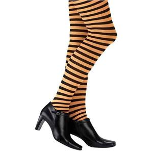 Orange and Black Striped Adult Pantyhose