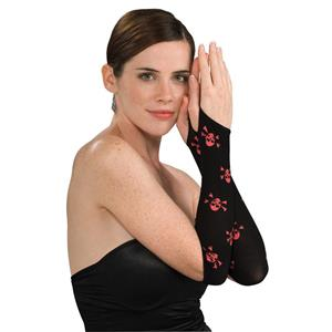 Women's Sexy Black and Red Skull Cross Bones Fingerless Arm Warmer Gloves