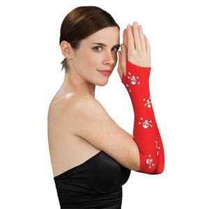Women's Sexy Red with White Skull Cross Bones Fingerless Arm Warmer Gloves