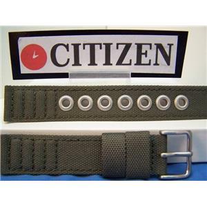 Citizen watch band military style 18mm khaki fabric steel eyelets. Washable