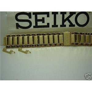 Seiko WatchBand SKK518 Gold Tone Bracelet w/ Push Button Deployment Buckle