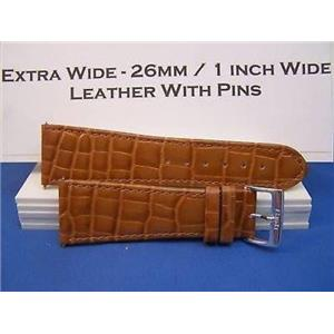26mm Wide Tan Leather Strap.Genuine Leather.Good Quality Watchband