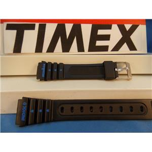 Timex Watch Band IronMan Ladies Black Resin w/blue Graphics 15mm Strap