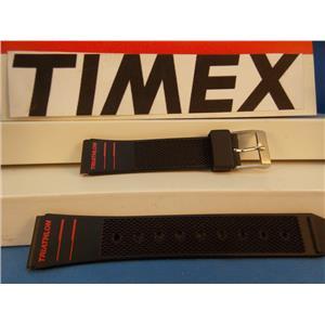 Timex Watch Band Triathlon Black Resin w Red Graphics 15mm Strap
