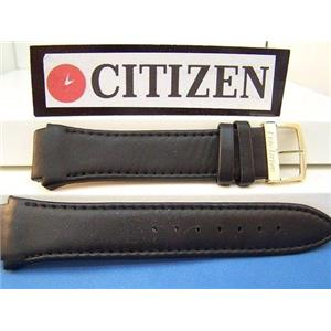 Citizen Watch Band Eco-Drive BM6575 Blk Leather Gold Tn Bkle.Back #E111-S049407