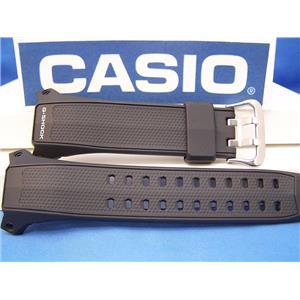 Casio Watch Band G-056 B-1, GW-056 Black Resin G-Shock Watchband - Strap
